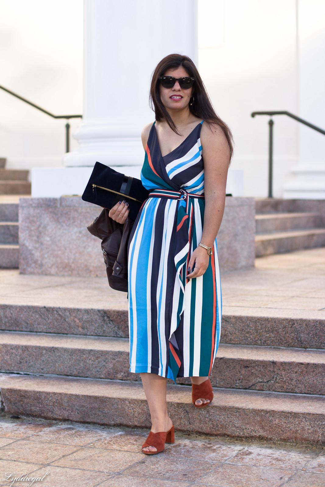 striped midi dress, leather jacket, mules, foldover clutch-1