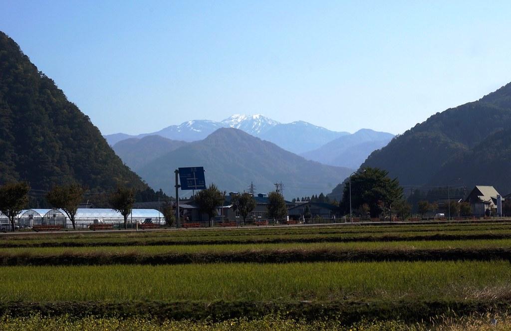 初冠雪の白山と蛇谷自然公園の紅葉