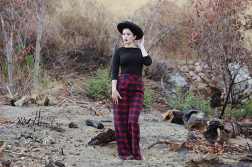Voodoo Vixen Celine Black Top Voodoo Vixen Rita Tartan Flared Trousers