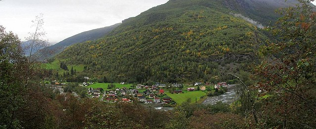 Flåm Village from above.