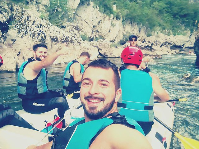 Jumping rafting diving hiking in the canyon Neretva