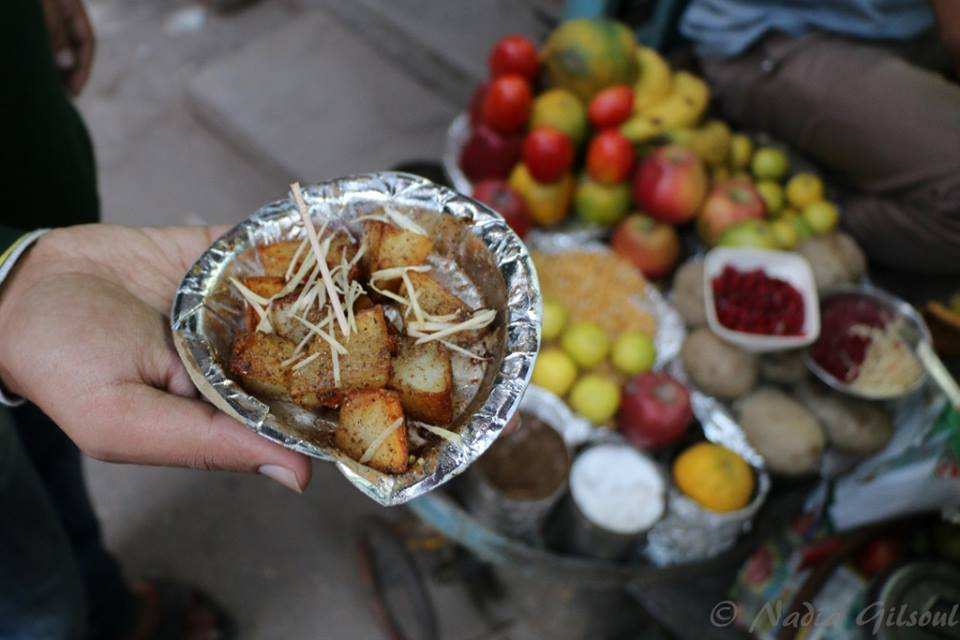 Aaloo chaat with ginger shavings