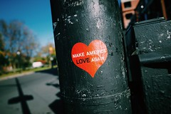 Make America Love Again // Text Communication Western Script Heart Shape Warning Sign Stop Sign Safety Day Close-up Red Guidance Focus On Foreground Love Outdoors Message Road Sign No People Sky Stickerart
