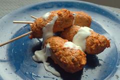 Tandoori Chicken Kofta Skewers with Sour Cream