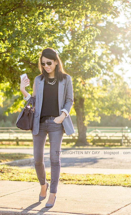 gray boyfriend blazer, gray pearl wrapped necklace, black top, gray skinny jeans, gray tote, gray suede pumps