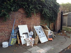 Junction Road - gates at dead-end leading to alley behind Holcombe houses - on 21st October 2017