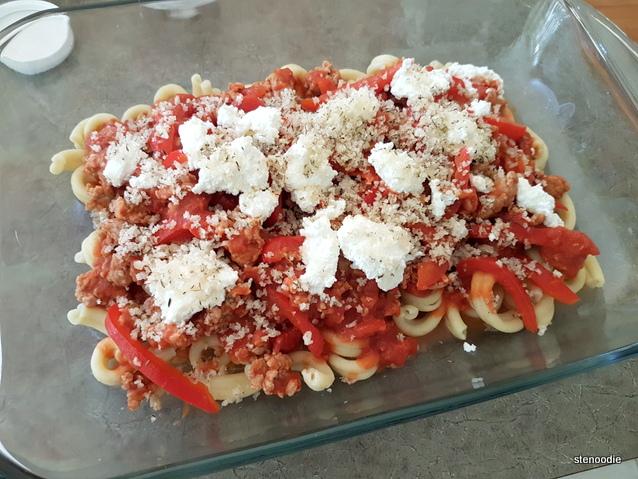 preparing pasta bake