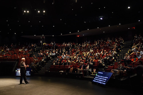 The Stewart Theatre audience listens to Chancellor Randy Woodson's annual address.