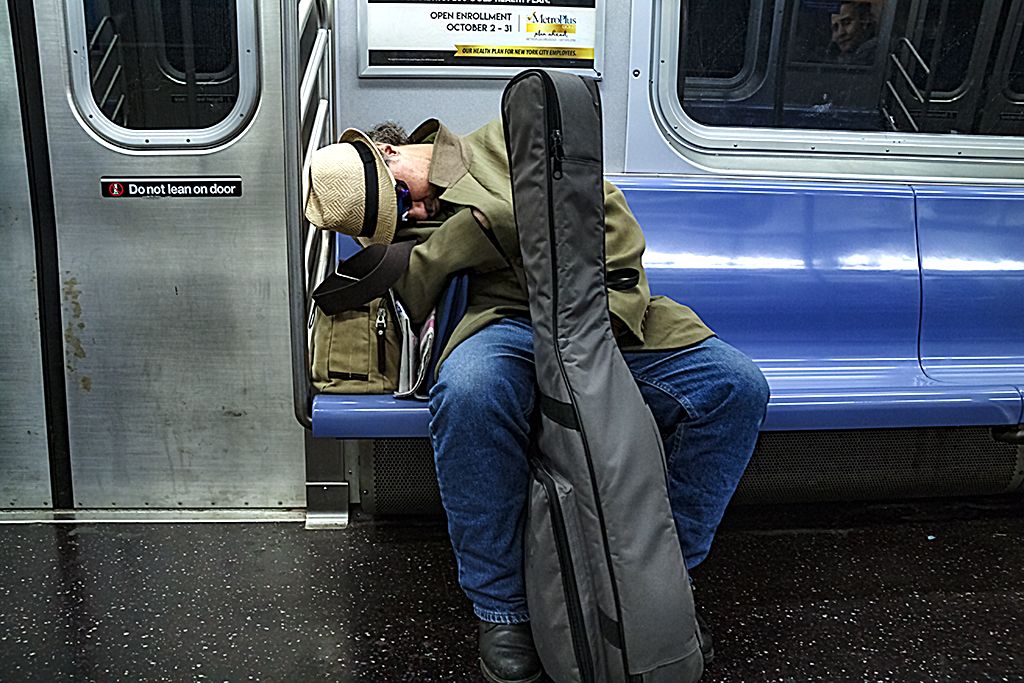 Sleeper on E Train--Manhattan 2