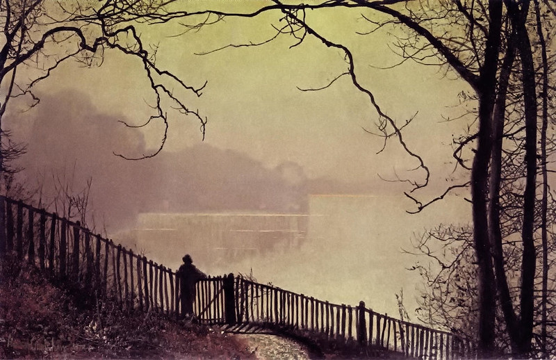 Figure Overlooking Waterloo Lake, Rounday Park, Leeds by John Atkinson Grimshaw, 1872