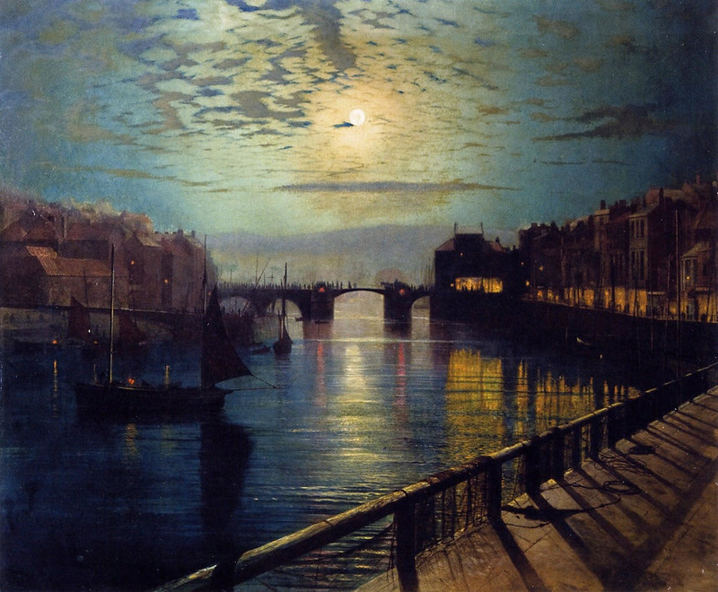 Whitby Harbor by Moonlight by John Atkinson Grimshaw, 1862