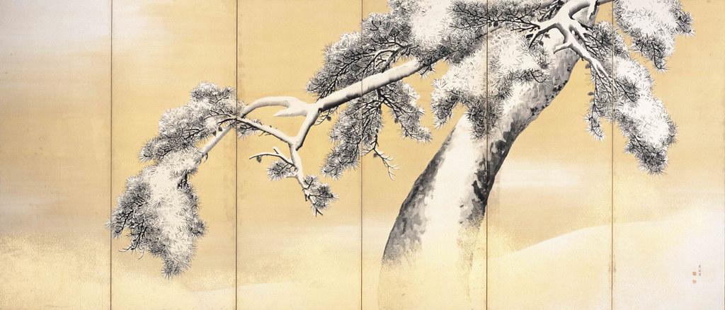 国宝《雪松図屏風(右隻)》円山応挙筆(江戸時代・18世紀、東京・三井記念美術館)