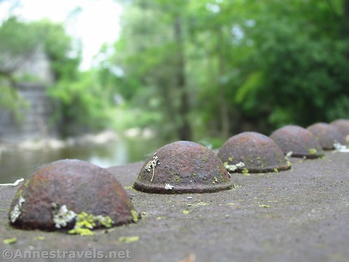 Rivets on one of the old trestles on the Ontario Pathways Rails to Trails, New York