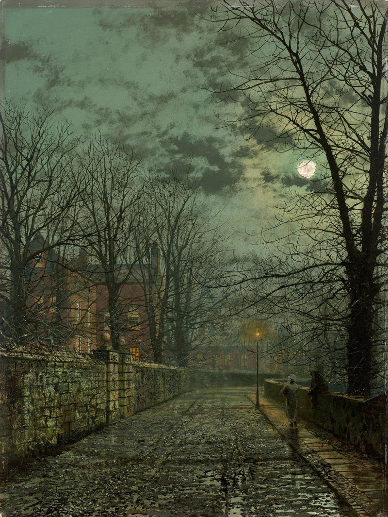 Street after the Rain in the Moonlight by John Atkinson Grimshaw, 1881