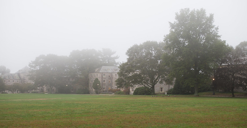 Connecticut College in Fog