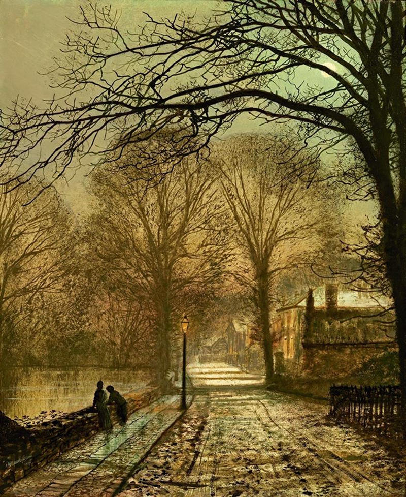 A moonlit country road by John Atkinson Grimshaw, 1877