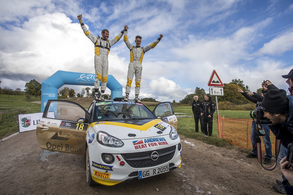 Ingram Chrisand Whittock Ross, Opel Rallye Junior Team, Opel Adam R2 ERC Junior U27 ambiance portrait during the 2017 European Rally Championship ERC Liepaja rally,  from october 6 to 8, at Liepaja, Lettonie - Photo Gregory Lenormand / DPPI