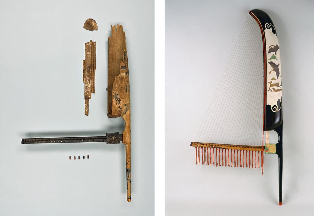 左)《漆槽箜篌》(南倉)  右)《漆槽箜篌》の模造品