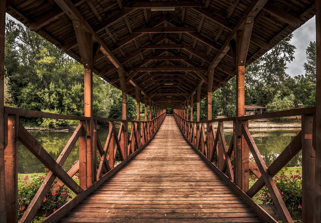 Wooden bridge Kolárovo (Sovakia)