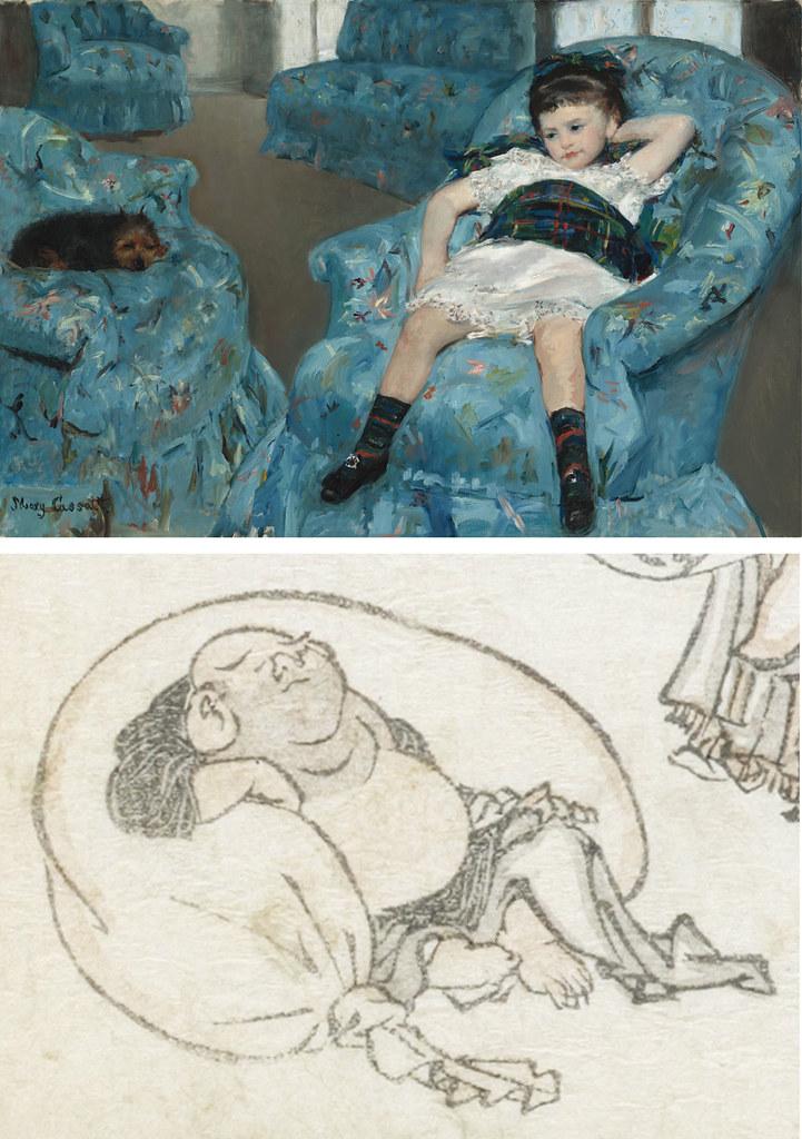 左)メアリー・カサット《青い肘掛け椅子に座る少女》(1878年、ワシントン・ナショナル・ギャラリー) 右)葛飾北斎《北斎漫画 十一編(部分)》(1814年、浦上蒼穹堂)