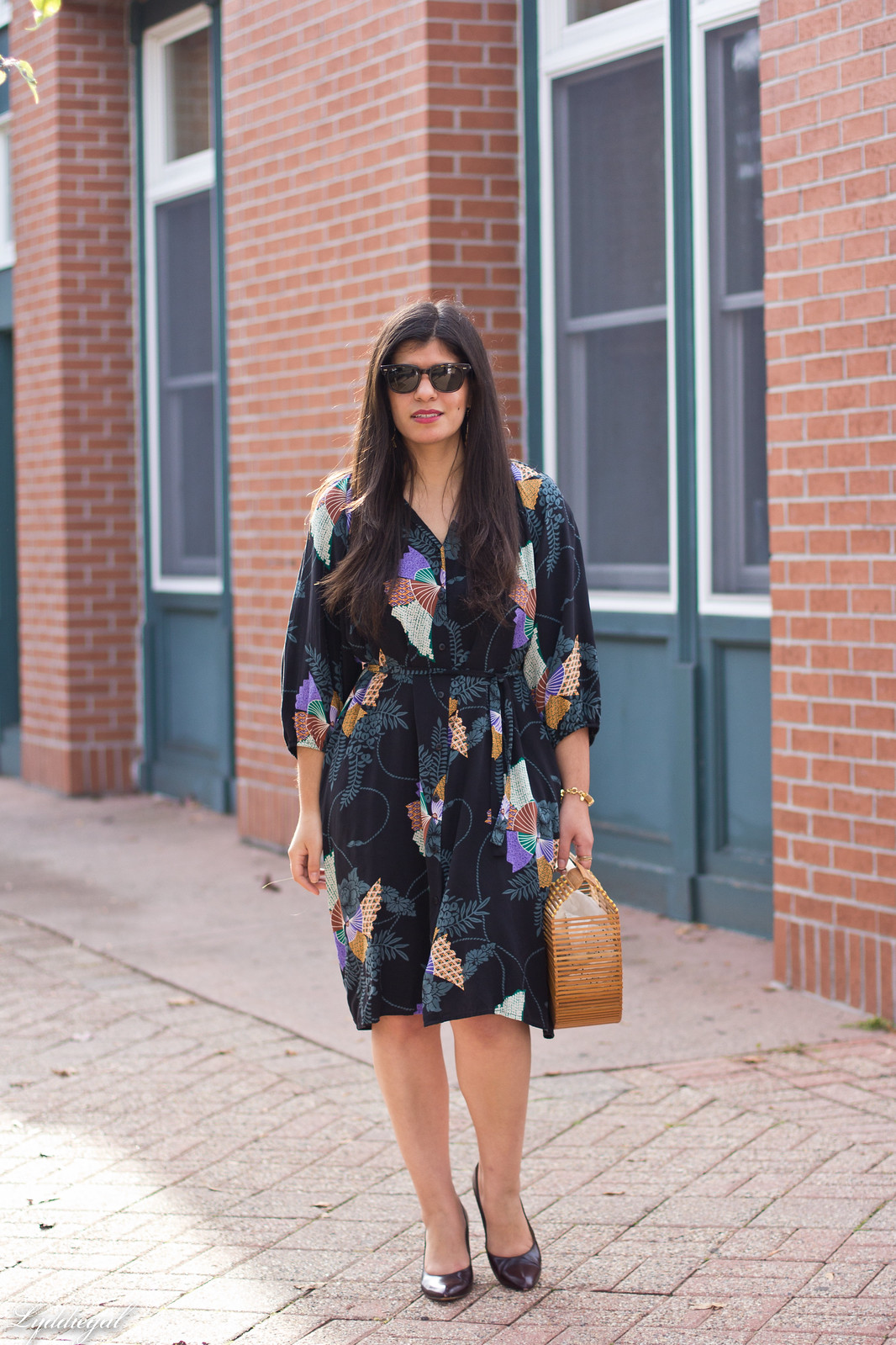 Tucker Japanese Floral Dress, Bamboo Bag, Fall Outfit-4