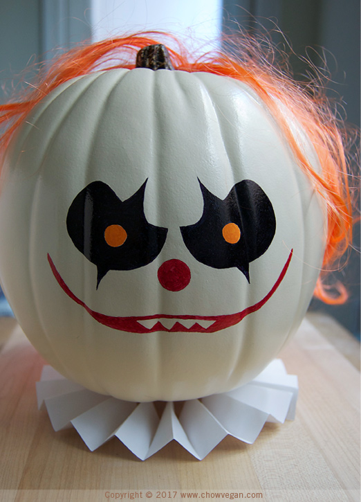 Creepy Scary Cute Clown Pumpkin | Chow Vegan