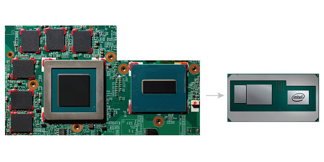 Intel introduces a new product in the 8th Gen Intel Core processor family that combines a high-performance CPU with discrete graphics and HBM2 for a thin, sleek design. A comparison shows the space these components take on a traditional board (left) and o