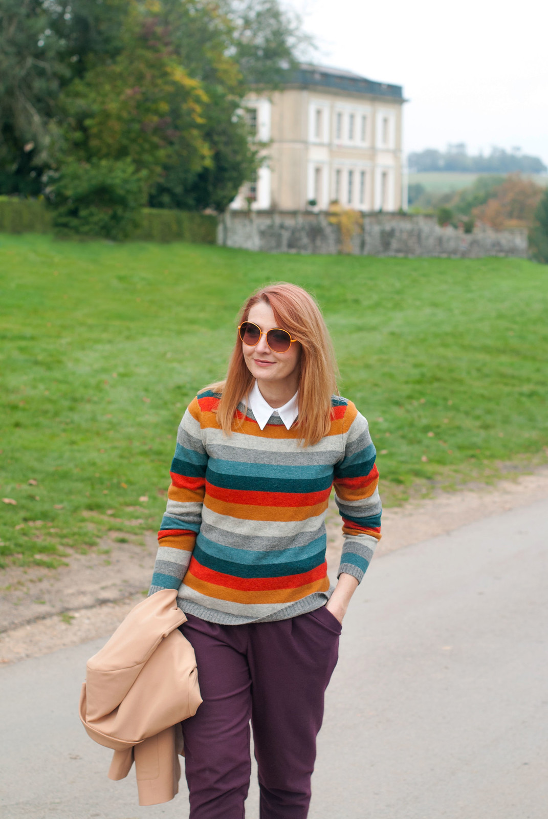 Preppy Style in the Autumn: Double breasted camel blazer \ striped Seasalt sweater \ white button down shirt \ aubergine peg trousers pants \ two tone brogues \ orange vintage sunglasses | Not Dressed As Lamb, Over 40 Style