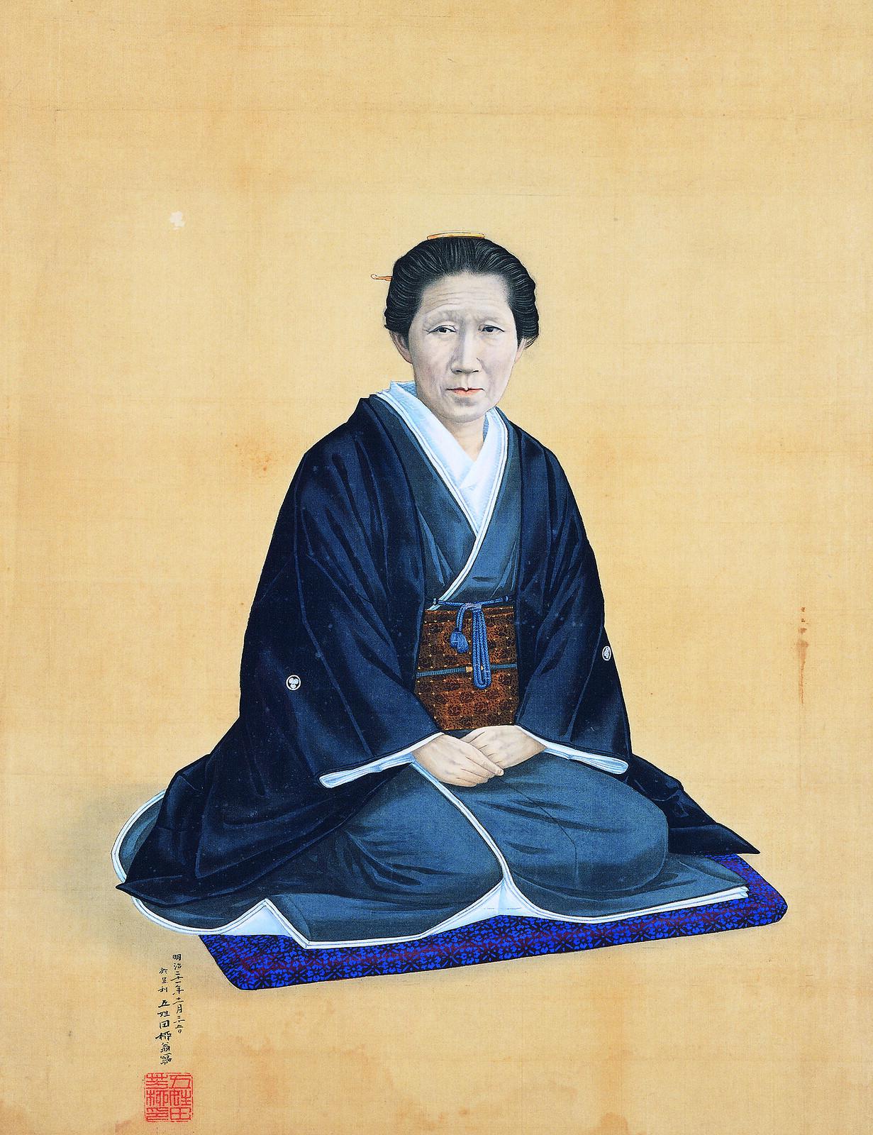 五姓田芳柳《婦人肖像 於足利》(1888年、足利市立美術館)