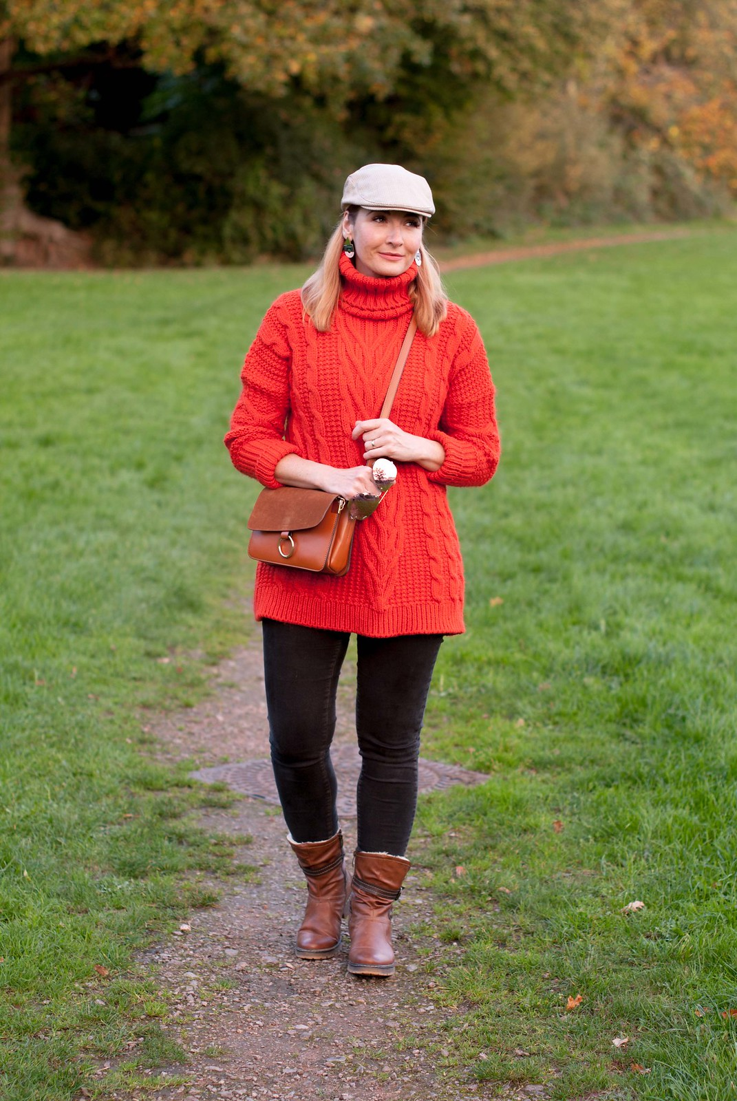 Cozy, comfy autumn fall outfit for walking the dog \ long orange-red roll neck sweater \ skinny jeans \ brown ankle boots \ flat cap | Not Dressed As Lamb, over 40 style
