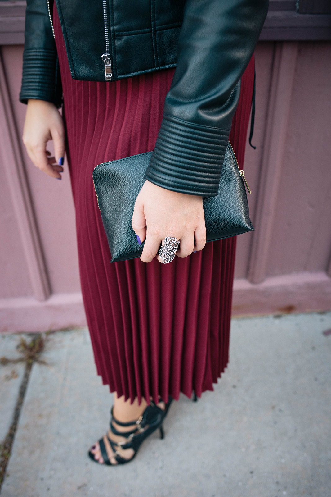 Pleated Midi Burgundy Skirt Rhinestone Statement Ring Black Clutch