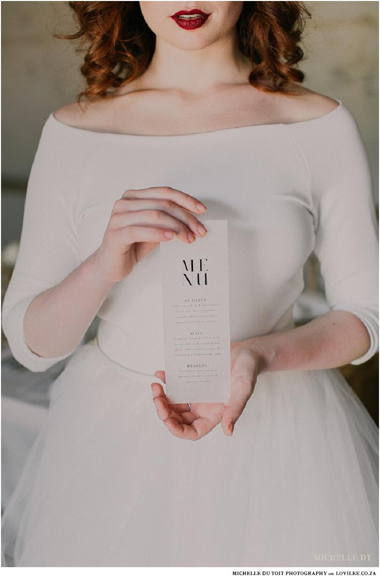 Minimalist wedding menu