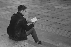 Street notes: On the steps of the Library ...