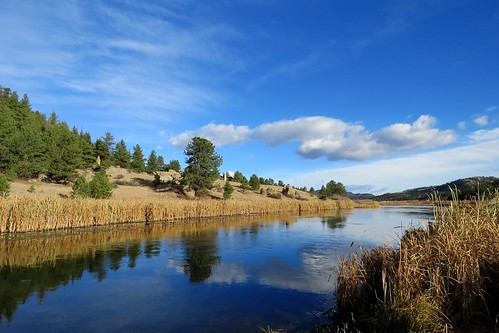 river southplatte reflection clouds mountains wetland lakegeorge colorado pike nationalforest