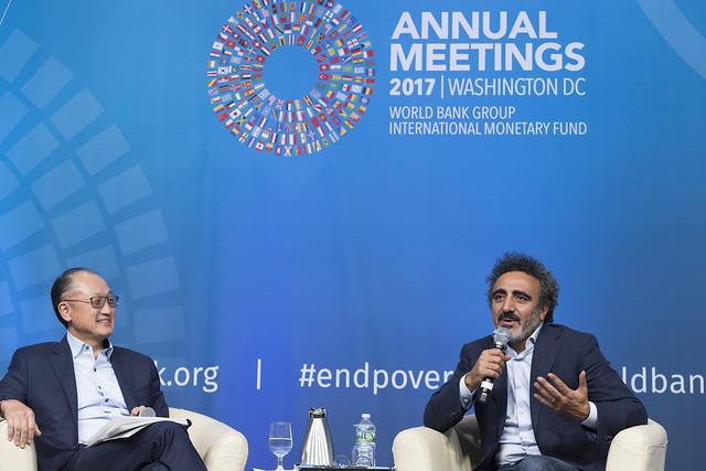 Tue, 10/10/2017 - 16:32 - October 10, 2017 - WASHINGTON DC. World Bank / IMF 2017 Annual Meetings.  Challenging Business as Usual: A Conversation between Jim Yong Kim and Hamdi Ulukaya  JIM YONG KIM, President, World Bank Group HAMDI ULUKAYA, CEO, Chobani and Founder, Tent Foundation  Photo:  World Bank / Simone D. McCourtie