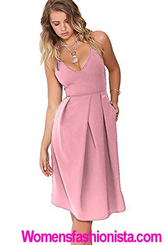 Eliacher Women's Deep V Neck Adjustable Spaghetti Straps Summer Dress Sleeveless Sexy Backless Party Dresses With Pocket (M, Pink)