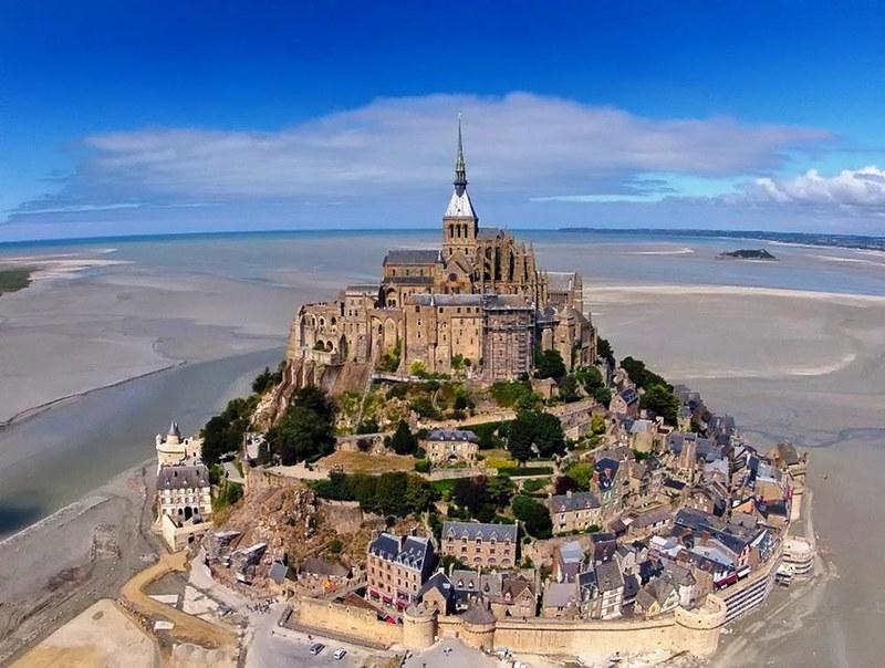 Mont-Saint-Michel Aerial View. Credit Sylvain Verlaine