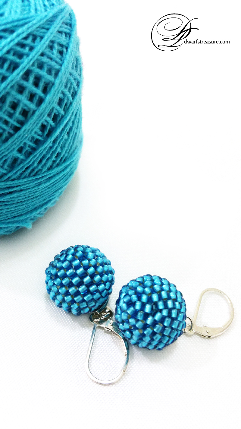 fashion cyan beaded bead ball dangle earrings