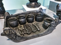 Foculum (Serving Tray) with Jars and Implements Etruscan from Chiusi A Tomb Group 550-500 BCE Earthen Bucchero ware
