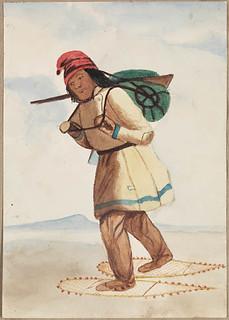 A First Nations man on snowshoes / Homme des Premières Nations en raquettes