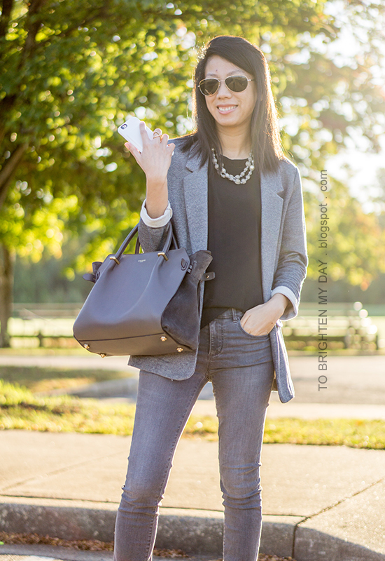 gray boyfriend blazer, gray pearl wrapped necklace, black top, gray skinny jeans, gray tote