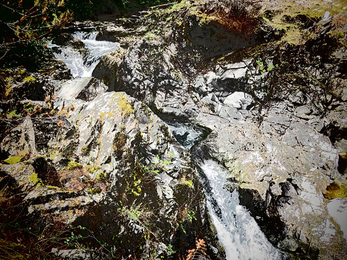 Posterization of the rocks at Little Qualicum Falls on Vancouver Island