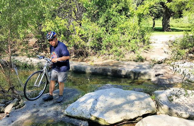Bicycle portage across Shoal Creek