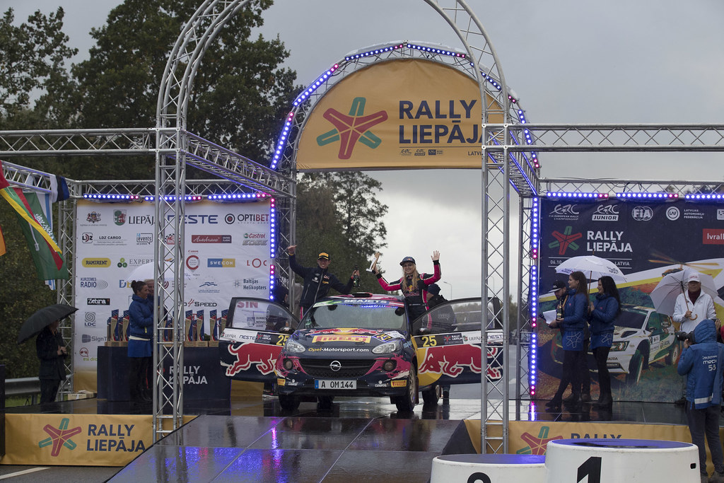 Molinaro Tamara, Opel Rallye Junior Team, Opel Adam R2 ERC Ladies ERC Junior U27 ambiance portrait podiumduring the 2017 European Rally Championship ERC Liepaja rally,  from october 6 to 8, at Liepaja, Lettonie - Photo Gregory Lenormand / DPPI