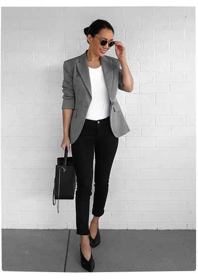Grey Blazer + Sling Backs