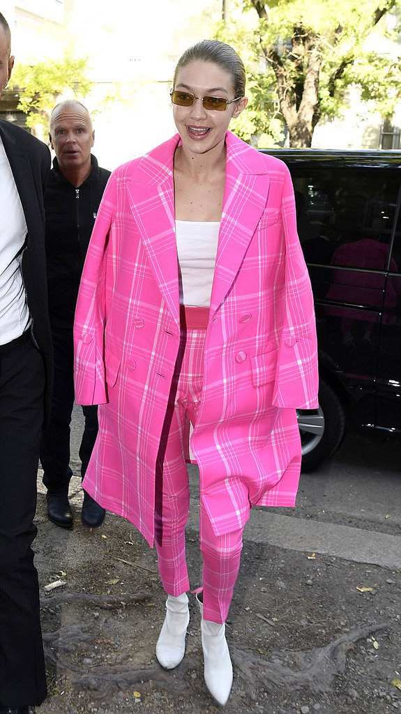 pink-plaid-trouser-suit-white-top-white-boots