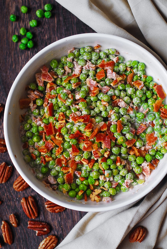 gluten free Thanksgiving recipes, gluten free Christmas recipes, healthy salads, crunchy creamy pea salad with bacon and pecans