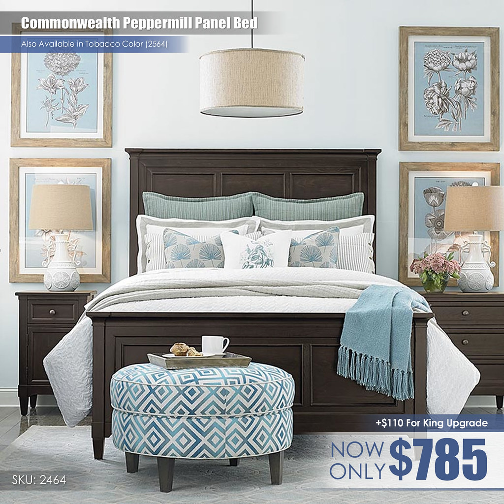Commonwealth Peppermill Panel Bed_2464-K159A-FA15 Qn Bed $785 Kg Bed $995