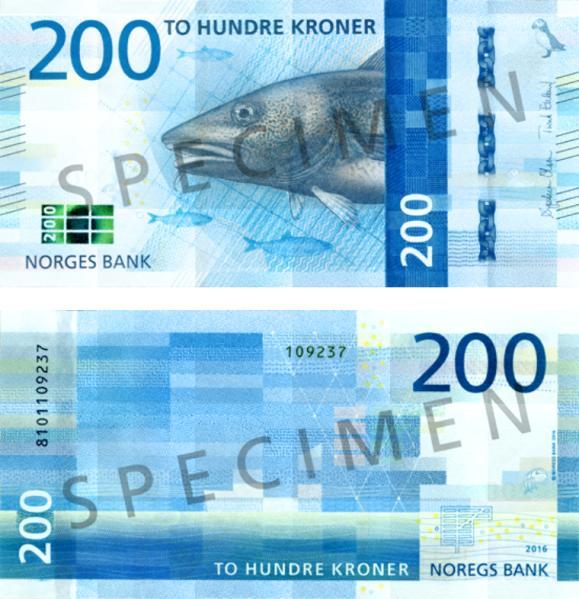 Nová 200-korunová bankovka Nórska