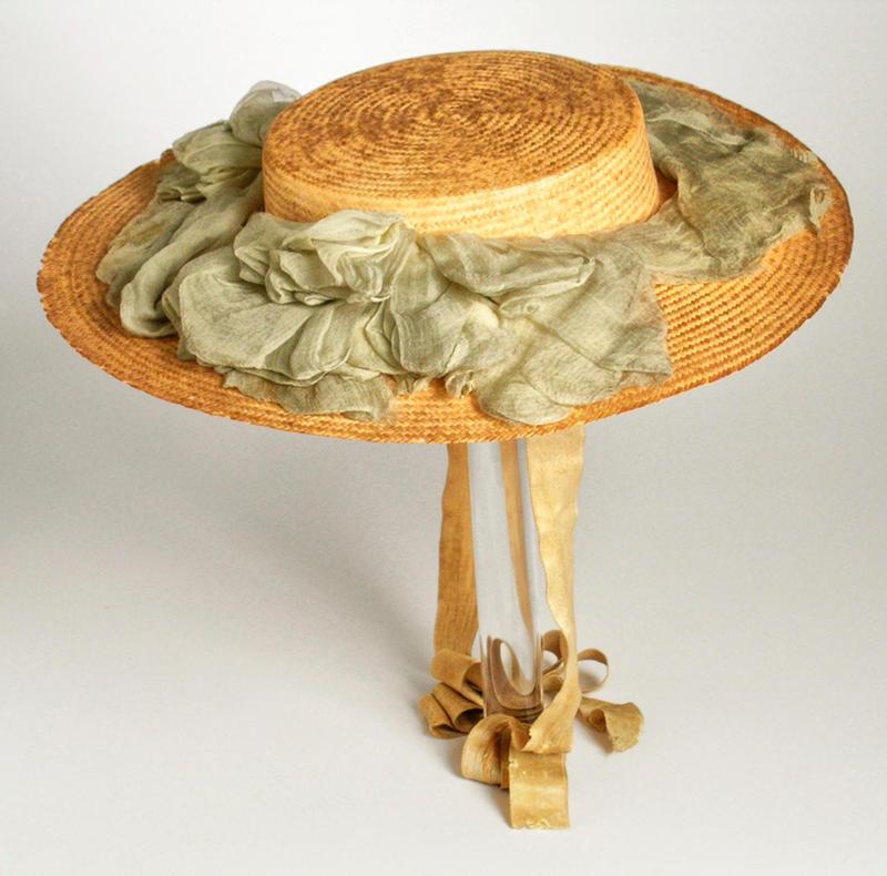 1890 Hat. American. Leghorn straw, silk chiffon